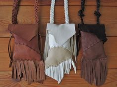 Medicine Bags, Leather, Handmade by FolkOfTheWoodCrafts, $25.00