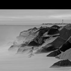 Really great black and white shot of the Cape May Ocean