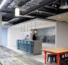 Primark | Dublin Headquarters | Stainless Steel Backsplash | Exposed Ceiling | Drywall Bulkhead | Open Concept