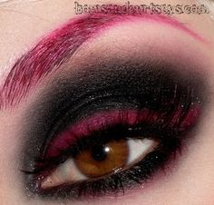 Wicked red and black Goth eye makeup- wouldn't do the eyebrow unless i was going out, but the rest is fab