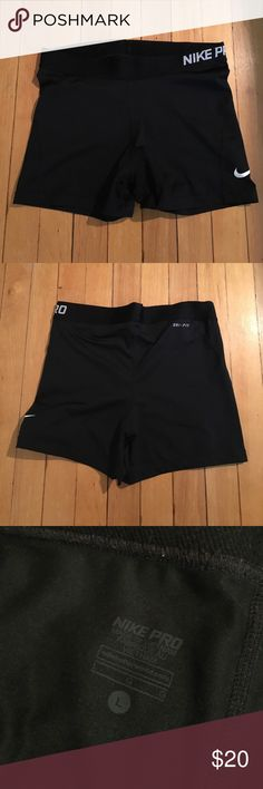 Nike Spandex Shorts Worn about 3 times and still in perfect condition! These shorts are deceiving though - I'm a size 27 in jeans, and there's fit well as a large. Great if you have a booty! Nike Shorts