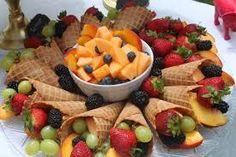 Fruit salad in ice-cream cones #designsponge #dssummerparty