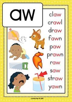 Digraph / Vowel Team AW: Phonics Word Work {Multiple Phonograms} by Lavinia Pop. Phonics Chart, Phonics Flashcards, Phonics Rules, Alphabet Phonics, Flashcards For Kids, Phonics Lessons, Preschool Phonics, Kindergarten Learning, Teaching Phonics