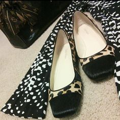 Calvin Klein Leopard Pony Print Flats Calvin Klein Netty Leopard and Pony Print Flats. Size 7.5 Medium Cushioned Rubber Bottoms. Worn Once New Condition. Original Box and Shoe Packing Included. Defect and Odor Free Calvin Klein Shoes Flats & Loafers