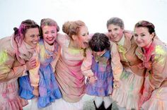 Bride and bridesmaids covered in holi powder