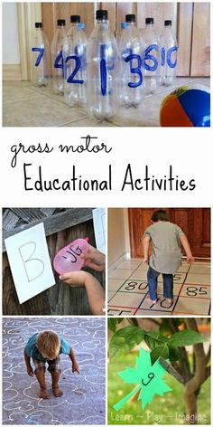75+ ways to learn through play - educational gross motor activities including literacy, math, shape and color recognition, and more!