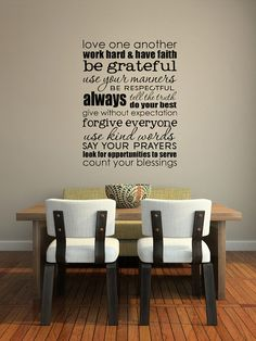 SUBWAY ART  - Family rules-size 17 x 23 inches - Vinyl lettering wall decal sticker #familyrules