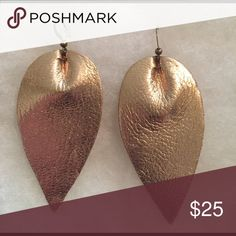 """Leather leaf earrings Fabulous gold leather leaf earrings. Approx: 3"""" x 1.5"""" Accessories"""
