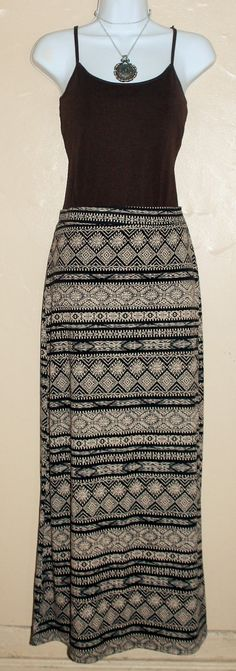 Last skirt sale Toupe and black maxi skirt elastic by Foreverpeace