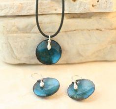 Sea Ocean Blue Copper Enamel Earrings Disks