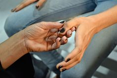 """""""Here, OPI manicurist painted on a deep, stormy blue-grey polish to complement the moody blues seen in the designer's collection."""" -HarpersBazaar.com (Actual color is OPI's Suzi Skis in the Pyrenees.)    NYFW Spring 2013 Nails"""