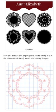 Doily Photoshop brushes from ScrapNfonts (traceable in Silhouette Studio) free until Valentine's 2013 - via Capadia Design