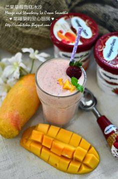 ~♥紫羅蘭的爱心厨房♥~ Violet's Kitchen: 芒果草莓雪糕冰沙 Mango and Strawberry Ice Cream Smoothie