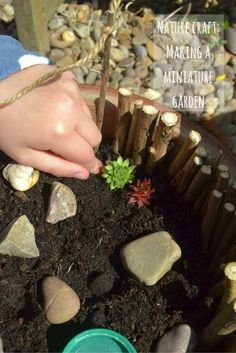 How to make a miniature garden with materials found in nature materials - a fun, easy nature craft that really gets imaginations firing!