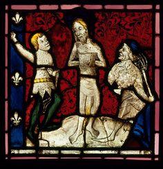 Flagellation, vitrail provenant de l'église paroissiale de Betton, 15e siècle - Paris, musée de Cluny - musée national du Moyen-Âge, Cl.9549