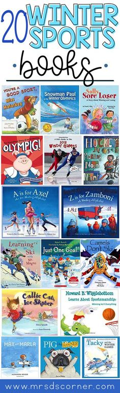 20 Winter Sports books, perfect for the Winter season. Winter is a great month for reading indoors by the fireplace, but it's also a really fun time to play winter sports! Combine both loves with this list of winter sports books for kids. Winter Games books. Books for the Olympics. Books about sportsmanship. Blog post at Mrs. D's Corner.