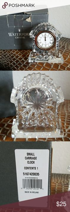Waterford Crystal Small Carriage Clock Never used with box and instruction manual. Smoke free home. waterford Other