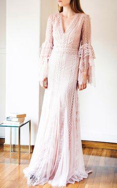 Guipure Lace V Neck Dress Costarellos Fall/Winter 2016