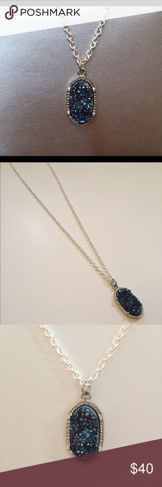"""Silver Plate Handmade Druzy Natural Stone Necklace Silver Plated Natural Stone Druzy Necklace! Handmade 24"""" chain. Beautiful blue stone. No two stone the same. Also available in a pretty pink stone. 16,18,24"""" chain lengths available. Claw clasp. Nickel free chain. Jewelry Necklaces"""