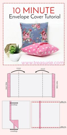 How to Make Cushion Covers - DIY Envelope Cover 10 Mins | TREASURIE
