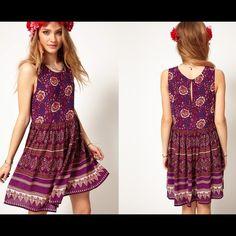 MINKPINK sleeveless bohemian dress can post pics of actual dress if asked. worn but still looks good MINKPINK Dresses Midi