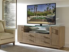 Shop for Lexington Turnberry Media Console, and other Home Entertainment Console Tables at Seldens Designer Home Furnishings in Tacoma, WA. Home, Shelves, Glass Shelves, Lexington Home, Media Cabinet, Interior Design Services, Modern Floor Mirrors, Home Furnishings, Media Console