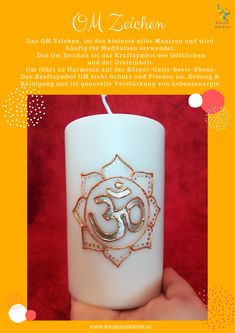 Wenn ich meditiere zünde ich immer eine OM Kerze an, sie unterstützt mich dabei und gleichzeitig erhalte ich Schutz, Ausgeglichenheit und Erdung. Die Kraft des OM ist mega und möchte ich nicht mehr missen 😍✅😀  #kerzenmalerei Meditation, Pillar Candles, Om, Peace, Candles, Taper Candles, Christian Meditation, Zen