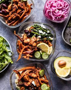 Chicken shawarma and sweet potato fry bowls. Fries for lunch? Go for it. Get the recipe here.