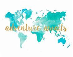 Printable Map Adventure Awaits World Map Watercolor map
