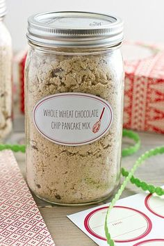 Whole Wheat Chocolate Chip Pancake Mix   Flapjack genius. Mason jars are quite possibly the South's favorite containers. They are ideal vessels for drinking sweet tea (or bourbon), making adorable crafts, and even cooking breakfast, including one of our favorite morning pick—pancakes. These Mason jar pancake recipes are the most delicious way to start the day. With pancake mix in a jar, all you have to do is add water, eggs, and/or milk, and you've got breakfast.