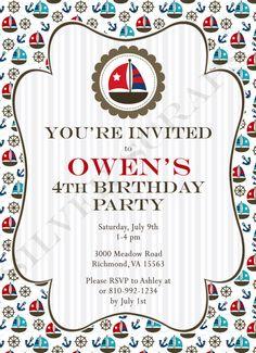 Nautical Sailboats and Anchors. Custom Digital Birthday Party Invitation - Navy Blue, Red, Yellow, Aqua, Boat - 5 Designs, Printable, DIY