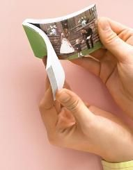 Memory Flip Book    A video of your bridesmaids dancing   at your bachelorette party or laughing   at your bridal shower can be   transformed into a keep-at-hand   photo flip book for repeated   enjoyment. Websites such as   flipclips.com will turn a 10- to   30-second digital video clip into a   palm-size tome with pages that   re-create the big event when leafed   through quickly. Choose from a range   of sizes and custom-cover options.