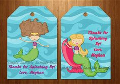 Party Favor Bag Tag / Candy Bag Tag - The Beautiful Mermaid - Co ordinates with invitation - DIY Printing