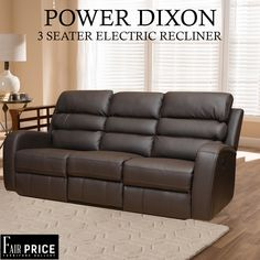 Power Electro Dixon is one of the finest recliners we have available to offer. Crafted in tough leather air which makes it more durable and less maintenance required. The 3 Seater to provide you the ultimate convenience and cinema experience. Get your hands on these to enjoy the comfort at the fullest.