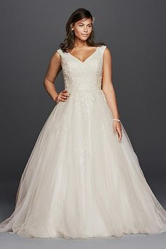 Plus Size Tank Tulle Wedding Dress with Lace 9WG3797