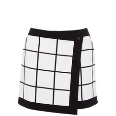 Karen Millen Graphic check wrap skirt (2 485 UAH) ❤ liked on Polyvore featuring skirts, mini skirts, bottoms, checked skirt, mini skirt, white mini skirt, short wrap skirt and checkered skirt