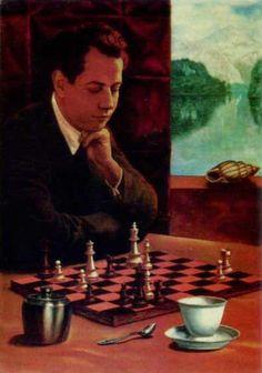 Raoul Jose Capablanca, Cuban chess player, by Sándor Badacsonyi, born in Budapest, 1949 Anatoly Karpov, Magnus Carlsen, Chess Players, Postcard Art, All Games, Cool Artwork, Board Games, Illustration Art, Frames