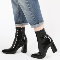 Public Desire Raya Pointed Toe Ankle Boots in Black Patent // $52.99
