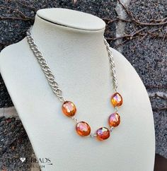 Coral crystal necklace-coral and silver necklace-silver necklace-crystal necklace-coral statement necklace- coral crystal-gifts for her - pinned by pin4etsy.com