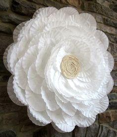 Coffee filter flower sculpture