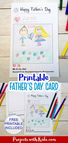 This free printable father's day card activity is so fun! Using an Instagram style template, kids can draw a picture of them with their dad and write their own hashtag message on the inside. Kids of all ages will love making and giving this card to their dads for Father's Day. Fathers Day Art, Fathers Day Crafts, Happy Fathers Day, Creative Writing For Kids, Creative Kids, Fun Printables For Kids, Free Printables, Dad Drawing, Father's Day Printable