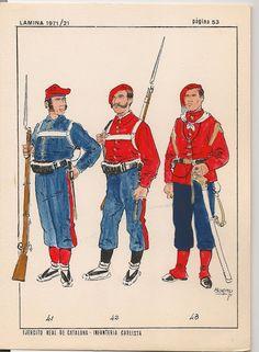 41 Voluntario del 2º Batallón de Gerona, 42 Voluntario del 1er Batallón de Gerona y 43 Teniente del 1er Batallón de Gerona Army History, Uniform Design, Army & Navy, Steam Punk, 18th Century, Spanish, Facts, War, Baseball Cards