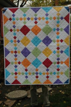 Patch Quilt Pattern Diamond Patch from Pleasant Valley CreationsDiamond Patch from Pleasant Valley Creations Cute Quilts, Scrappy Quilts, Easy Quilts, Small Quilts, Owl Quilts, Baby Quilts For Boys, Amish Quilts, Quilt Baby, Baby Quilt Patterns