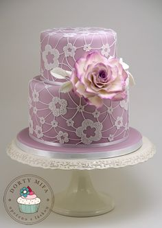 Beautiful Cake Pictures: White Flower Lace on Lilac Cake - Cakes & Lace, Colorful Cakes, Purple Cakes, Wedding Cakes - Gorgeous Cakes, Pretty Cakes, Cute Cakes, Amazing Cakes, Beautiful Cake Pictures, Bolo Floral, Purple Cakes, Colorful Cakes, Elegant Cakes