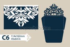 Descargar - Envolvente de felicitación de plantilla con el patrón calado tallado — Ilustración de stock #124030806