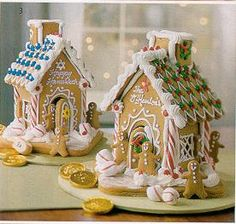 Pictures of Gingerbread houses for gifting make hang tags like gingerbread men