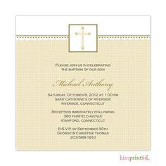 kimPrints   Gold Cross Baptism Classic Square Invitation