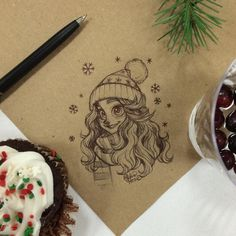 A doodle at the church Christmas party :) #sakurajoker #chihirohowe #christmas #snow