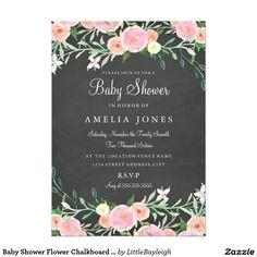 Baby Shower Flower Chalkboard Pink Invite