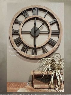 Clock, Decor, Wood Clocks, Rustic Wall Clocks, Wall, Modern Kitchen Design, Modern, Wall Clock, Furniture Decor